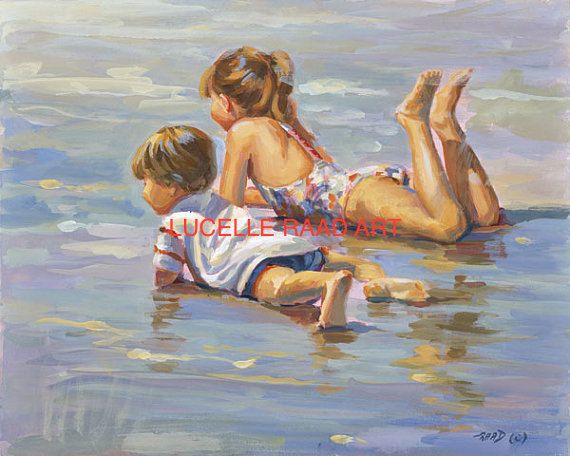 WALL ART  Canvas giclee in multiple sizes of boy and girl lying in the surf, beach children, siblings,  home decor  Lucelle Raad Art