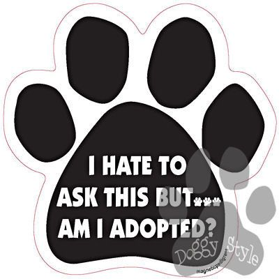 I Hate To Ask But...Am I Adopted http://doggystylegifts.com/products/i-hate-to-ask-but-am-i-adopted-paw-magnet