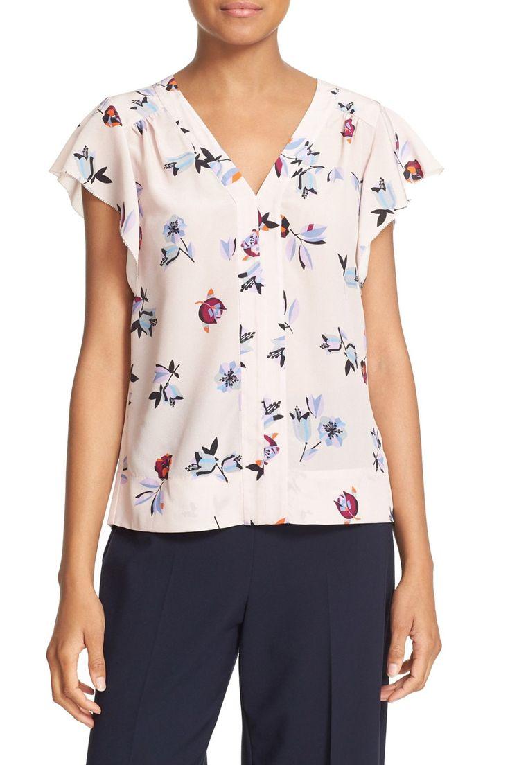'Bellflower' Flutter Sleeve Floral Silk Top