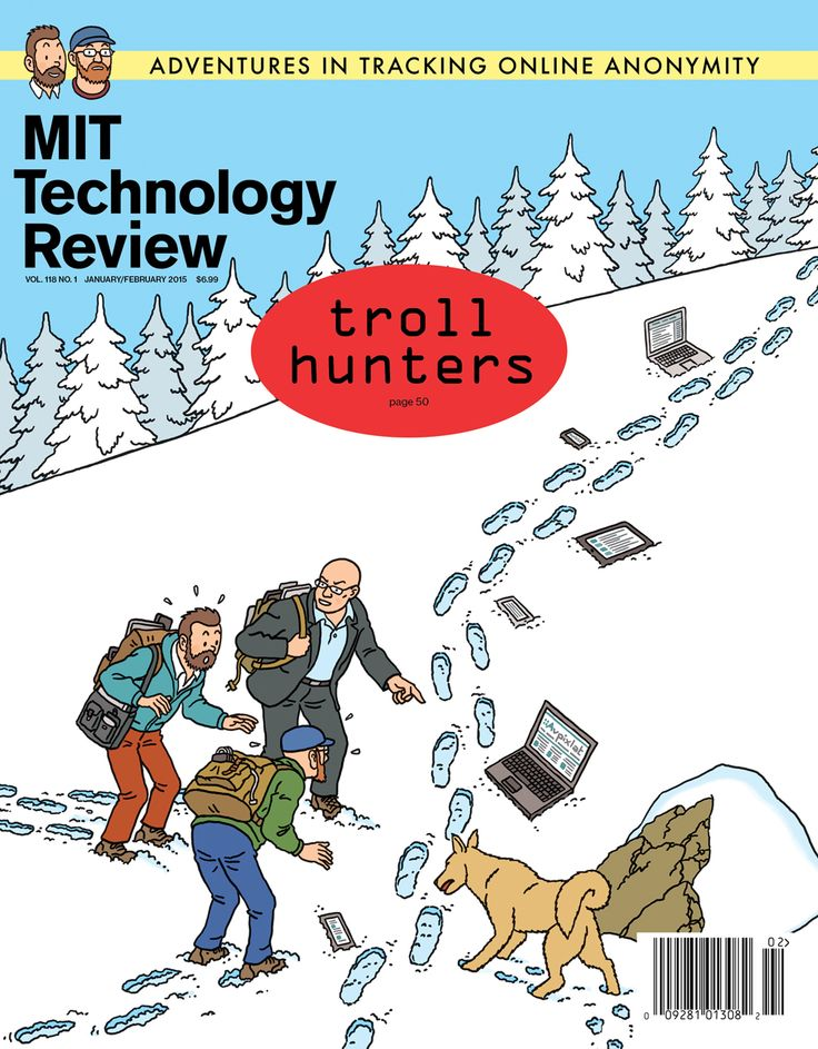 """""""Troll Hunters"""", January/February 2015 cover of MIT Technology Review."""