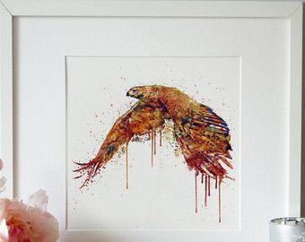 Vliegende Hawk aquarel schilderij kunst aan de muur afdrukbare kunst vogel decor Aquarelle hedendaagse kunst vogel kunst van het schilderen van de Wildlife Hawk kamer