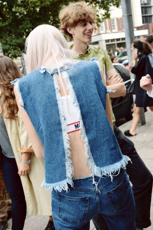 Street style frayed denim open back top, raw hem jeans, Moshcino bralet, LFW s/s 15