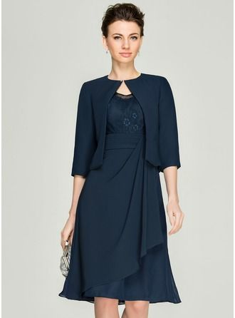 A-Line/Princess V-neck Knee-Length Chiffon Lace Mother of the Bride Dress With Cascading Ruffles (008062577) - JJsHouse