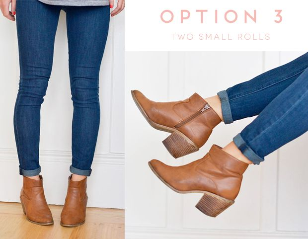 How to Wear Booties with Skinny Jeans - Option 3: My favorite way to wear booties with skinny jeans is to roll the bottom of the jeans twice. Keep the rolls nice and small for a seamless look. You should leave about 1 inch of skin showing just above the boot.