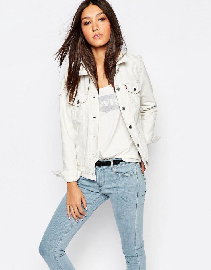 Super cool Levi's Boyfriend Fit Denim Jacket - White Levis Denim Jakker til Damer i lækker kvalitet