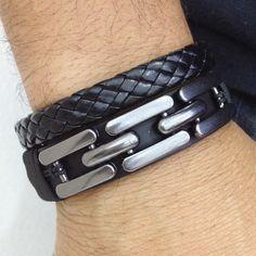 Pulseira Bracelete Masculina Couro Trançado Elos Correntes mens bracelets fashion style cocar brasil