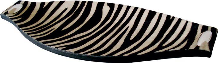 Centro de mesa canoa forrada en piel estampada cebra