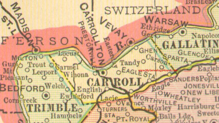 Carroll County, Kentucky vintage 1905 Map, Carrollton, KY ...