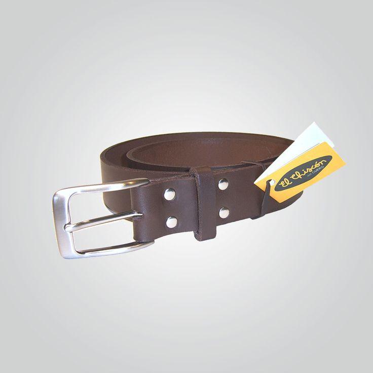 Cinturón 3,5 cm marrón-níquel