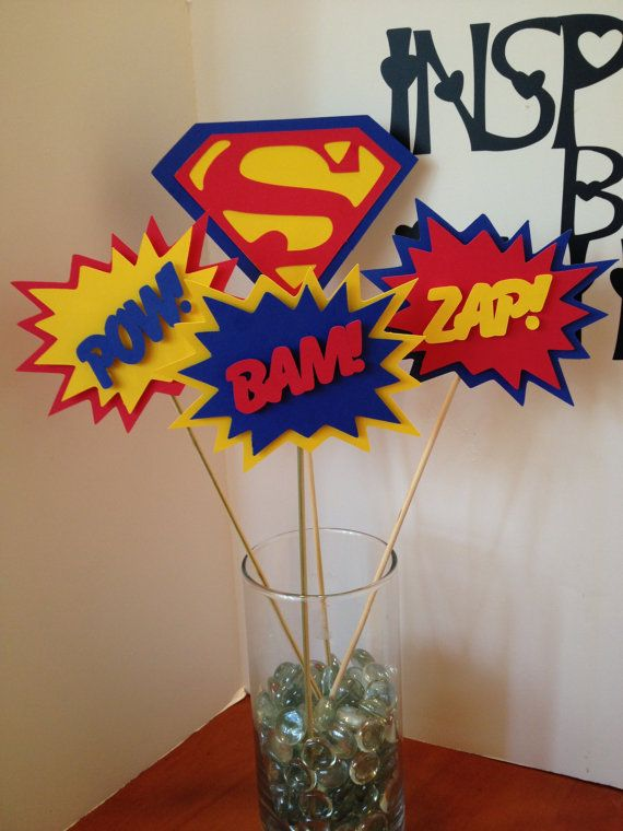 Superman Centerpiece 4 pc Superhero party by InspiredbyLilyMarie