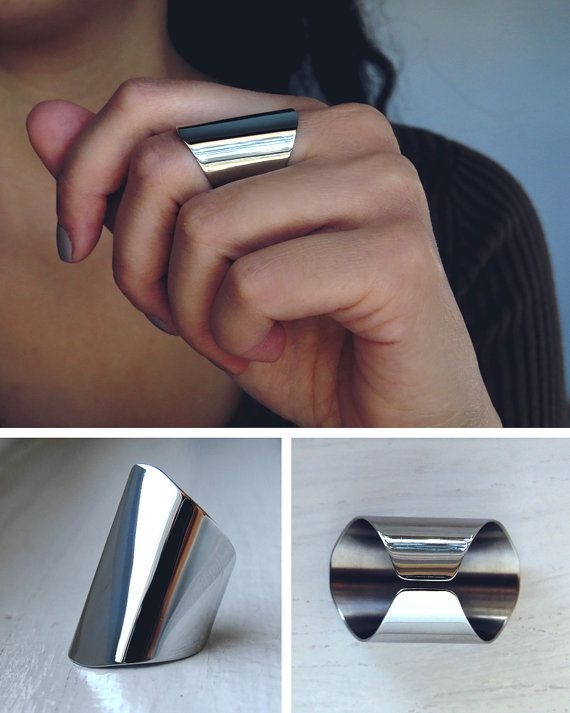 3cm wide statement ring / polished mirror finish / silver cuff ring / wide tube ring / oval ring / modern ring / edgy rings / long ring