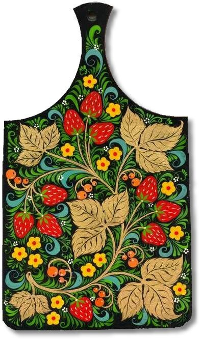 A wooden chopping board is decorated with Russian folk Khokhloma painting. A pattern with strawberries in black, red, green and golden colours.