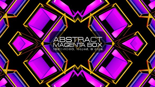 Abstract Magenta Box Video Animation | 8 clips | Full HD 1920×1080 | Looped | Photo JPEG | Can use for VJ, club, music perfomance, party, concert, presentation | #3d #box #dance #disco #geometric #glow #loop #magenta #music #neon #pattern #pink #rave #techno #vj
