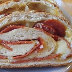 Easy Pepperoni Bread - I make this a lot during football season.  Sometimes I make them individual size.  I've also used ham and cheddar or swiss.
