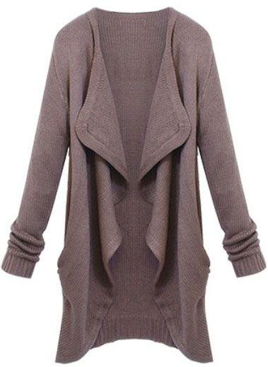 Brown Lapel Long Sleeve Loose Knit Cardigan - Sheinside.com