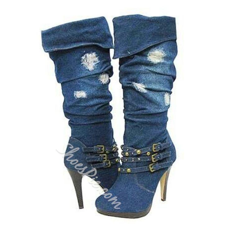 Special Denim Buckle High Heels Boots