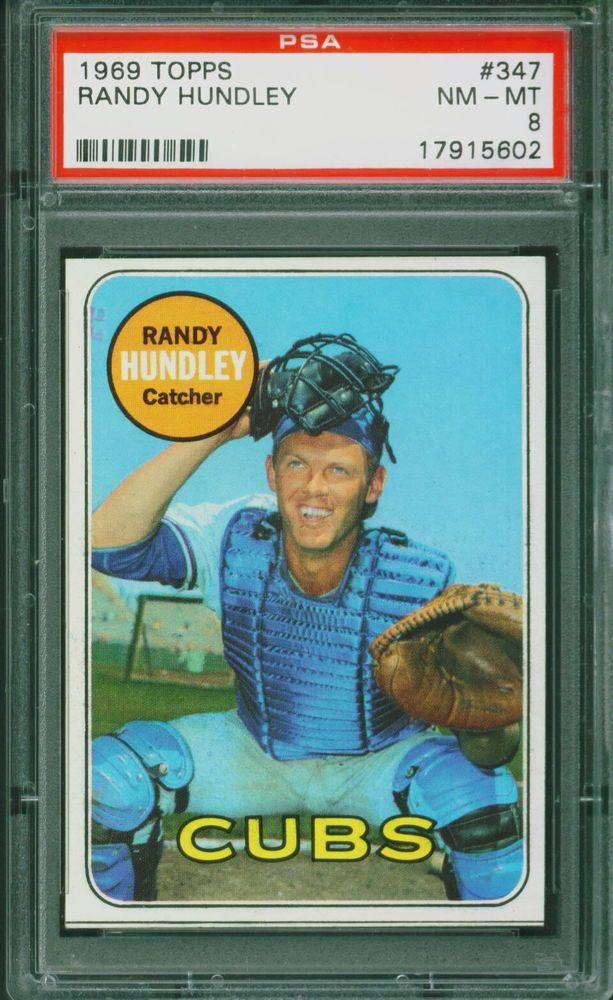 1969 Topps Baseball Randy Hundley 347 PSA 8 CUBS NMMT