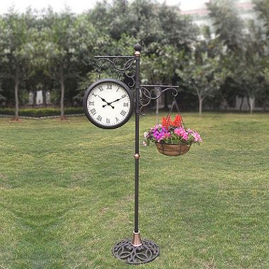 outdoor standing clock with planter clock planters and outdoor. Black Bedroom Furniture Sets. Home Design Ideas