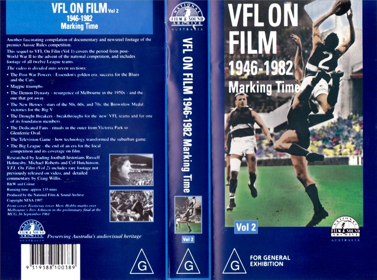 VFL on Film 1946-1982 VHS Video Tape Front & Back Cover