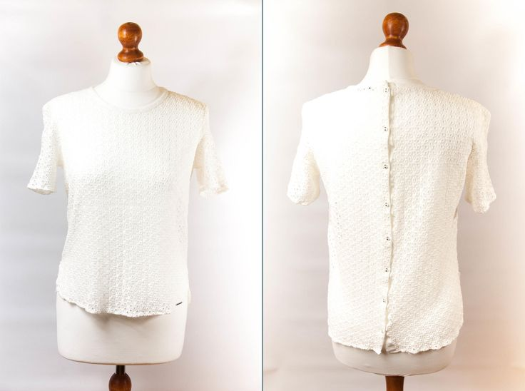 Vintage blouse size M, white blouse mesh blouse, holes blouse, mesh T-shirt, mesh t shirt blouse vintage, womens blouse, short sleeve blouse by VintageEuropeDesign on Etsy