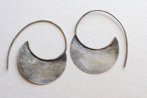 Sterling Silver Crescent Earrings, silver tribal earrings