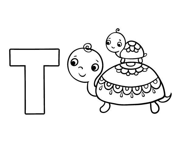 Dibujo Del Abecedario - Letra T Para Colorear