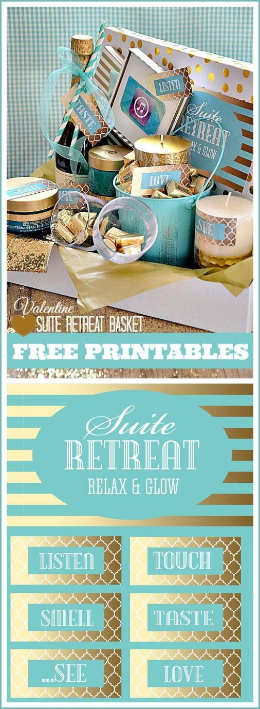 Free Printables to make this adorable Suite Retreat Basket. Perfect for a romantic date and Valentine's Day gift! #valentines #day