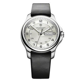 Victorinox Swiss Army Men's Leather Officers Grey Dial Watch | Overstock.com Shopping - Big Discounts on Victorinox Men's Swiss Army Watches