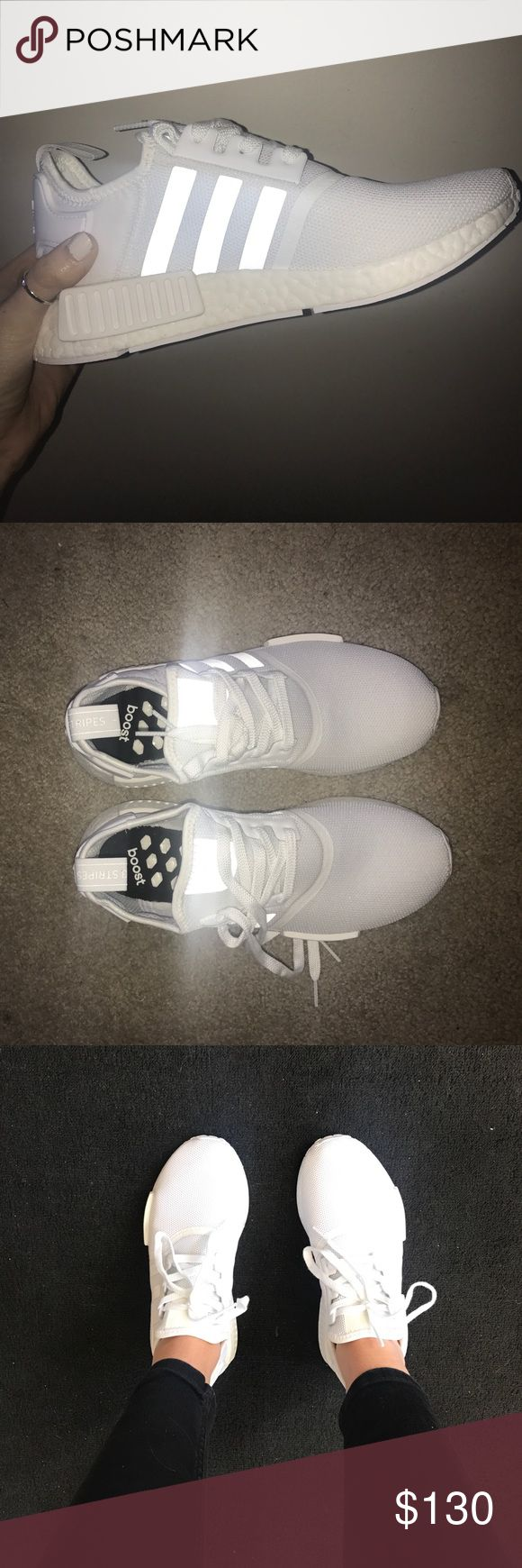 Adidas NMD_R1 men's 7.5 tennis shoe Never been worn just to try on. I wear a size 8 1/2 9 in women's and these were just a tad wide for my narrow feet so I ordered the 7 instead. Bright white, never been outside Adidas Shoes Sneakers