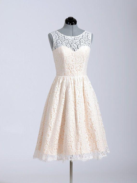 Princess Champagne Lace Short Wedding Dress,High Neck Sleeveless Knee Length Bridal Wedding Dress,See Through Back Short Wedding Gown,Cheap Prom Dress,Homecoming Dress,Short Bridesmaid Dress