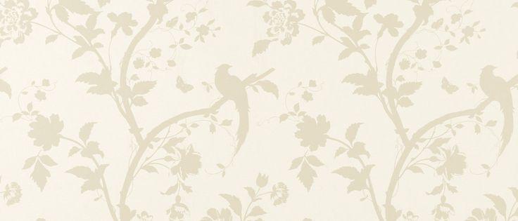Oriental Garden Gold/Off White Floral Wallpaper at Laura Ashley