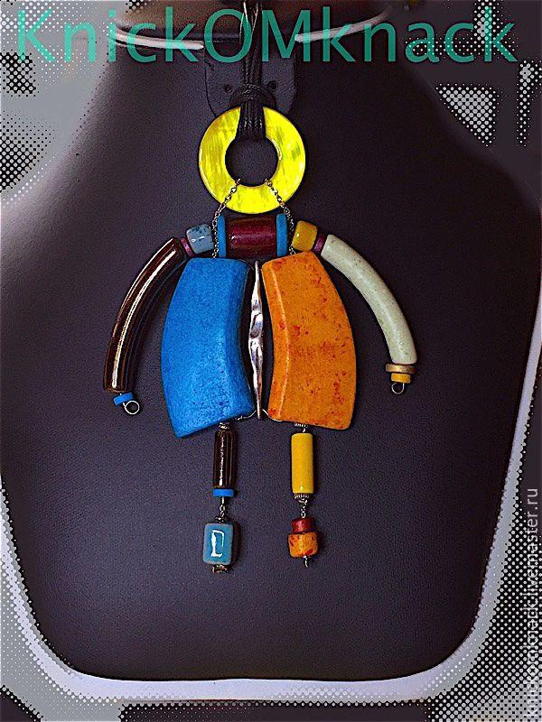 """Купить Керамика / кулон """"Робот"""" - Керамика, украшение на шею, кулон, керамические украшения"""