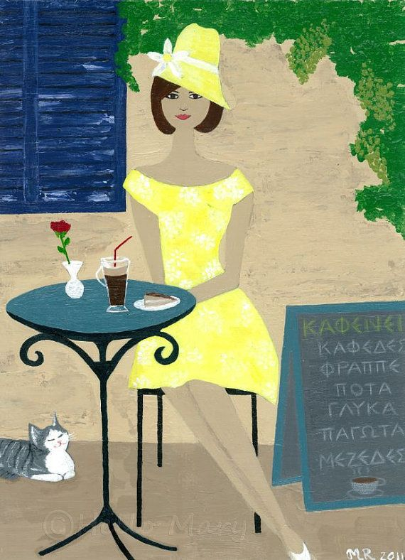 Girl art print  vintage girl with cat at Greek by HelloitsMary, $15.00