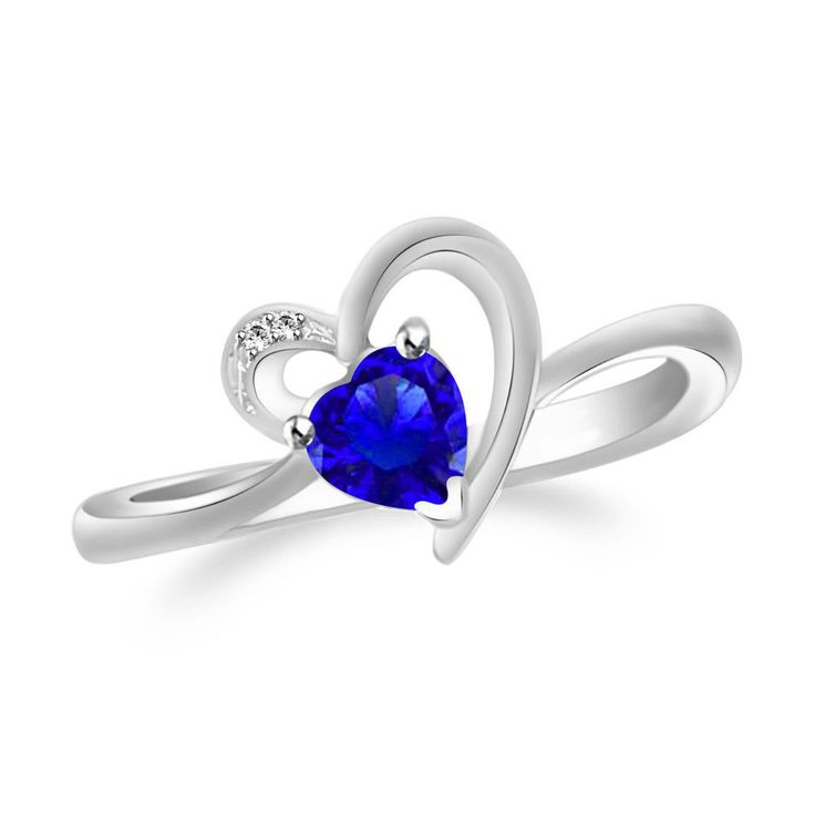 1.51Ct Blue Sapphire & White Diamond 925 Sterling Silver Engagement Heart Ring #GemstonePlace #Engagement