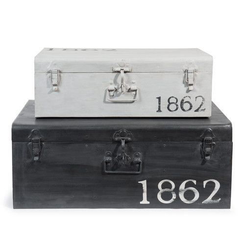 2 baúles de metal negro y gris con efecto envejecido An. 57 y An. 66 cm KANSAS