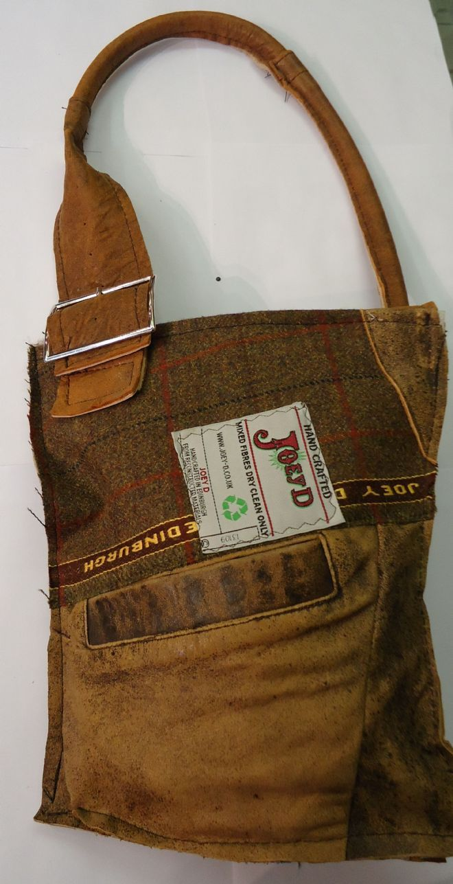 love the placement of the strap-- Leather and Tweed Buckle Bag - hand made from recycled clothing.