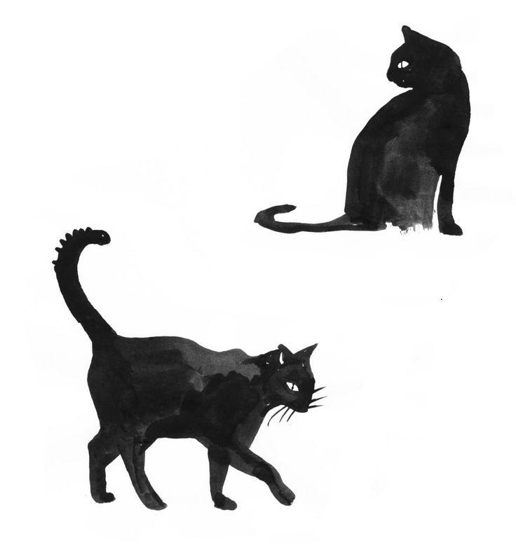 halloween black cat drawing