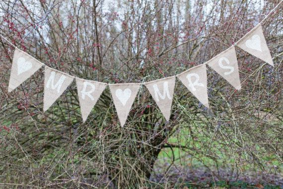 Mr & Mrs With Hearts Bunting  Vintage Handmade by MadeByMeAndMum
