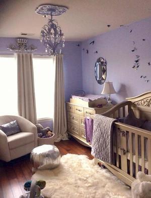 Silver And Lavender Nursery Exudes Elegance. Features Bratt Decoru0027s Chelsea  Lifetime Crib And Dresser.