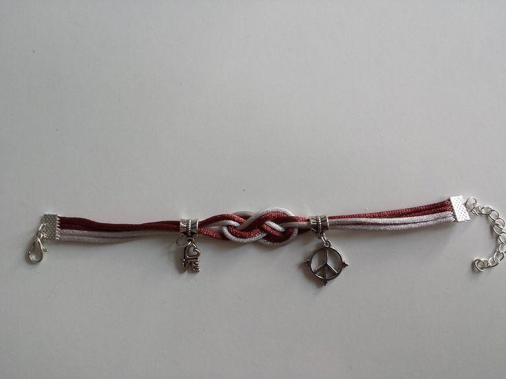 bracelet noueud marin bodeaux argenté : Bracelet par ima-creation