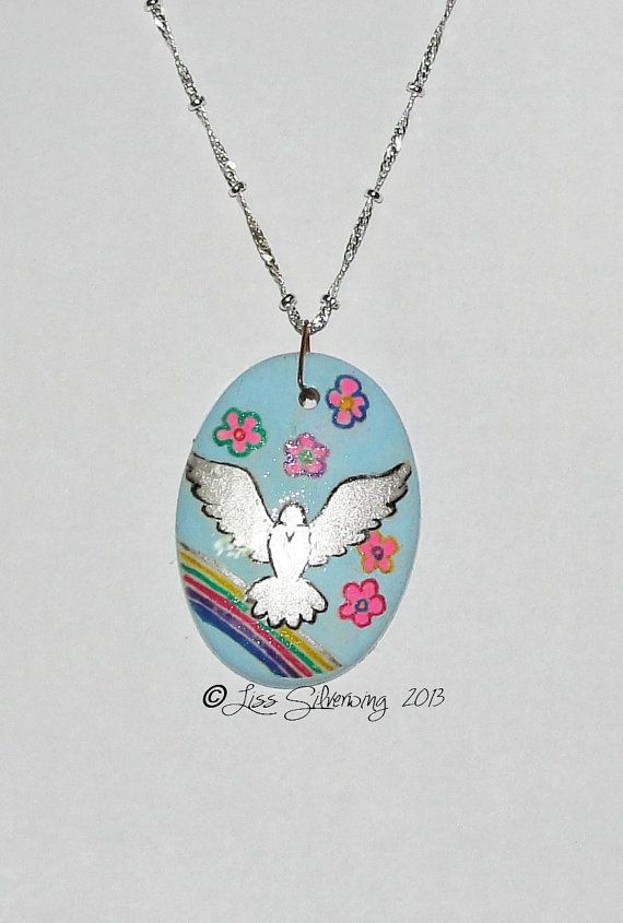 blue hippie style dove pendant by LissSilverwing on Etsy, $25.00