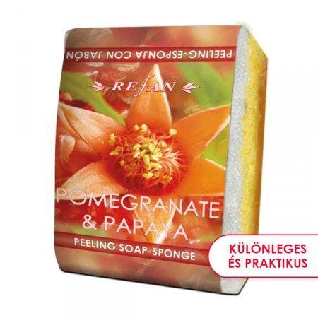 Gránátalma & papaja szivacsos szappan - 2 az 1-ben bőrfeszesítő szivacsos szappan a gránátalma és a papaja egzozikus gyümölcsillatával. Gyengéd bőrradírozó és feszesítő hatású. Mindennapi használata megelőzi a narancsbőr kialakulását, serkenti a vérkeringést. ©Refantázia