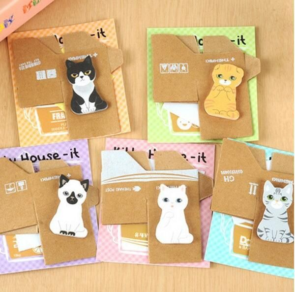 2pcs/lot Funny kawaii Kitty House Sticker Post It bookmark funny cat dog Tab Self-Adhesive Sticky Memo pads Stationery wholesale