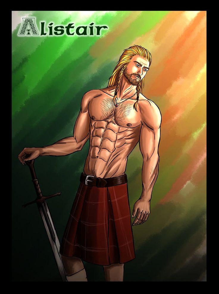 """Alistair, le héros de """"La fleur des Highlands, dessiné par Mirowshka"""