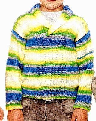 chaleco para niño de 6 a 7 años, tejido a palillo sueter con cuello en v tejido a palillo OjoconelArte.cl |