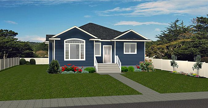 Plan 2008402 Open Concept Bungalow With Inverted Vaults For Larger Windows 2 Bedroom Covered Front Entrance Par Bungalow House Plans Bungalow Large Windows