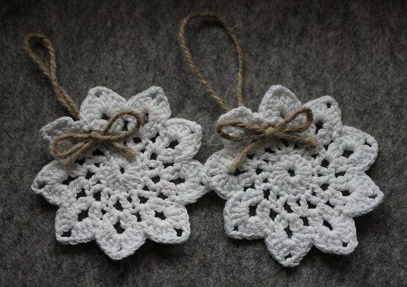 Gehaakte kerstboom ornamenten  gehaakte sneeuwvlokken door CreamKnit
