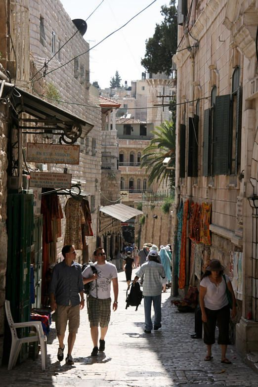 Via Dolorosa the path Jesus walked with the cross. Jerusalem, Israel.