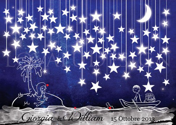 Alternative wedding Guestbook couple in love in the sea under the stars on canvas 80 signature. Available with the number of stars you want.