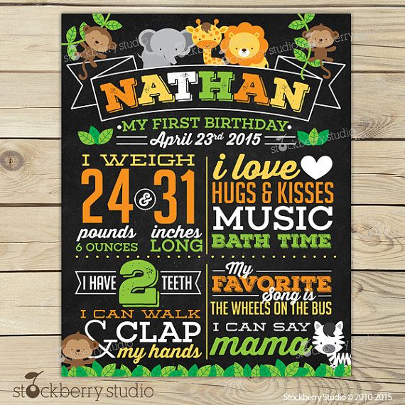 Safari Chalkboard Poster Printable - 1st Birthday Photo Prop - Jungle Animals First Birthday Party - Personalized Chalkboard Sign